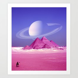 Pyramids, Saturn & the Desert Art Print