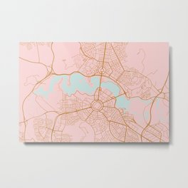 Pink and gld Canberra map Metal Print