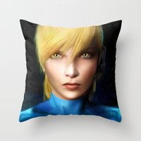 samus Throw Pillows featuring Samus Aran by Joe Roberts