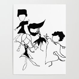World Dancers 2 - Black and White Poster