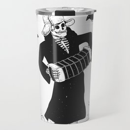 Grim reaper with accordion  - skull musician - black and white Travel Mug