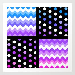 Multi-Color Gradient Chervon/Polkdot Pillow 1 Art Print