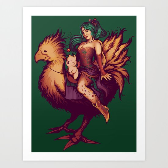 Mog's Chocobo Riding Club Art Print