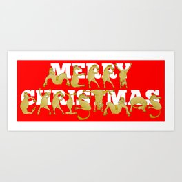 Merry Christmas Ponies Art Print