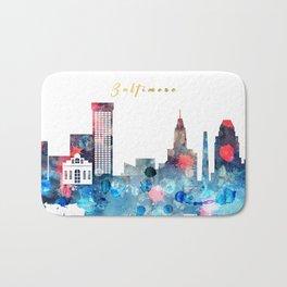 Watercolor Baltimore skyline design Bath Mat