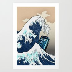 Blue phone Box Vs The great Big Wave iPhone 4 4s 5 5c 6, pillow case, mugs and tshirt Art Print