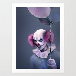 Evil Clown with Balloons Art Print