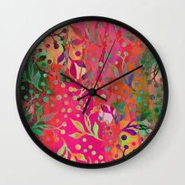 Tropical Summer colorful botanical pattern Wall Clock