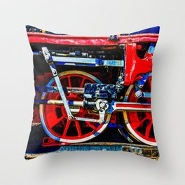Piston Rod Driving Gear Of A Vintage Steam Locomotive Throw Pillow
