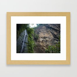 Thin Waterfall Cascading in the Rainforest of the Chocoyero-El Brujo Nature Reserve in Nicaragua Framed Art Print