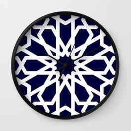 Moroccan Grid Blue Wall Clock