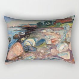 Shore with Red House by Edvard Munch Rectangular Pillow