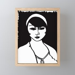 Woman, Black and White Framed Mini Art Print