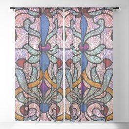 Art Nouveau Stain Glass Victorian Pastel Design Sheer Curtain