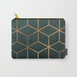 Dark Teal and Gold - Geometric Textured Gradient Cube Design Carry-All Pouch