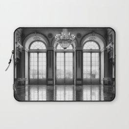 Giant French castle windows antique Paris ballroom hall and chandelier baroque wall mural background Laptop Sleeve