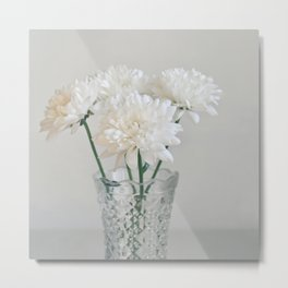 Creamy white flowers in clear vase. Metal Print