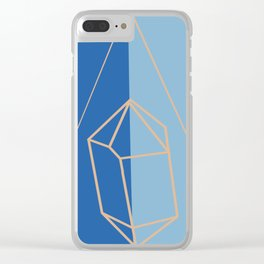 Blue, Gold Crystal Outline Clear iPhone Case