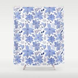 Serene Poinsettia Shower Curtain