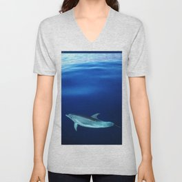 Dolphin and blues Unisex V-Neck