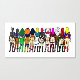 Superhero Butts - Girls - Row Version - Superheroine Canvas Print
