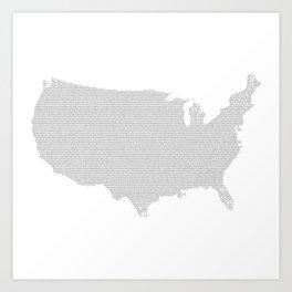 US constitution - map Art Print