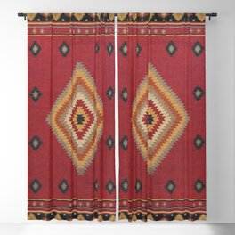 (N14) Red Anthropologie Oriental Moroccan Traditional Artwork. Blackout Curtain