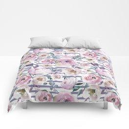 Violet blush pink lilac watercolor floral stripes Comforters