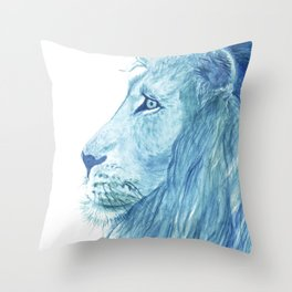 Blue Majestic Lion Throw Pillow