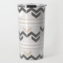 Geometric Arrowhead Charcoal Gold And White Grunge Pattern Travel Mug