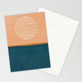 Abstract sun over ocean - mid century modern art  Stationery Cards