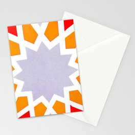 Oriental geometric ornament pattern in Orange  Stationery Cards