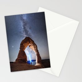 Starry Night Pointer at Milky Way Night sky in Moab Arches National Park  Utah USA  Stationery Cards