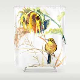 Yellow Bird and Sunflowers, Yellowhammer Shower Curtain
