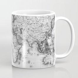 Black and White World Map (1840) Coffee Mug