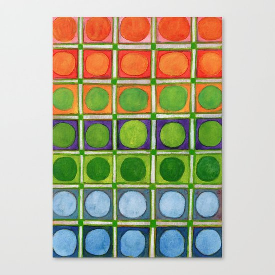 Beautiful Rainbow Colored Circles in a Grid Canvas Print