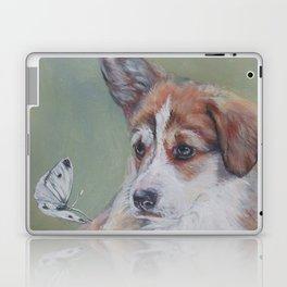 Pembroke Welsh Corgi dog portrait painting by L.A.Shepard fine art Laptop & iPad Skin