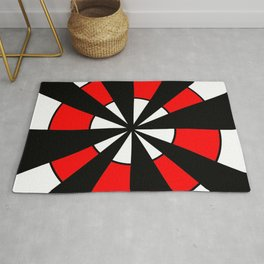 optical pattern 64 Circle red and black Rug
