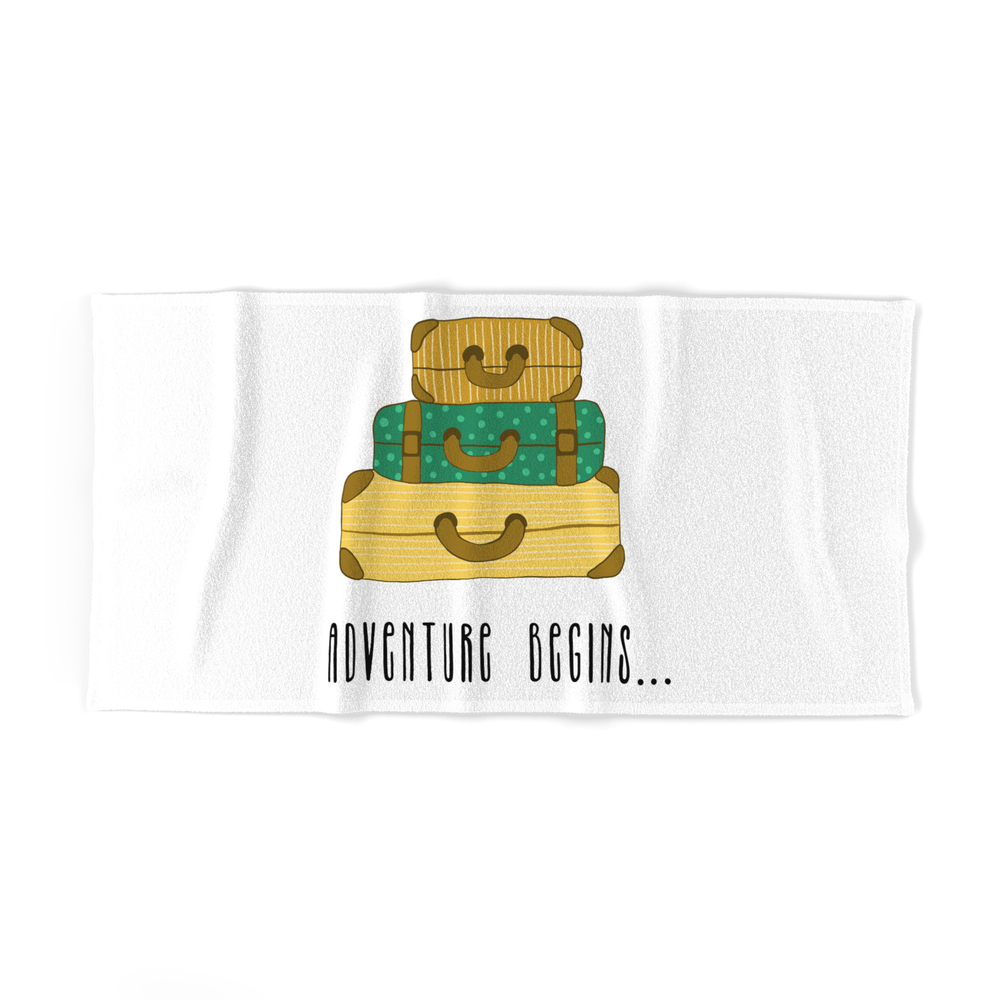 Adventure Begins, Suitcases Are Packed Bath Towel by bigmomentsdesign
