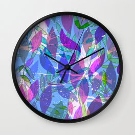 modern leaves pattern Wall Clock