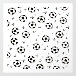 Fun grass and soccer ball sports illustration pattern Art Print