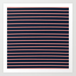 Navy and Coral Stripes Art Print