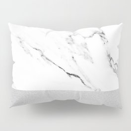 White Marble with Black and Grey Silver Stripe Pillow Sham