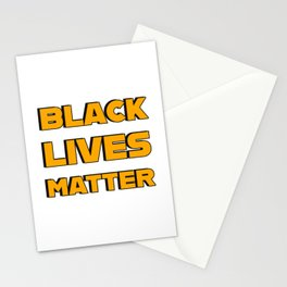 BLACK LIVES MATTER - Black and Yellow bold letters Stationery Cards