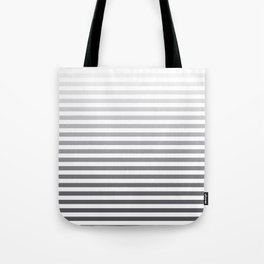 Gray and White Ombre Stripes Tote Bag