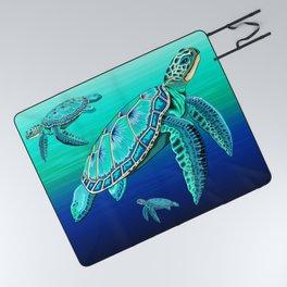 Sea Turtle Turquoise Oceanlife Picnic Blanket