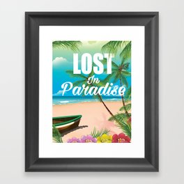 Lost in paradise travel poster Framed Art Print