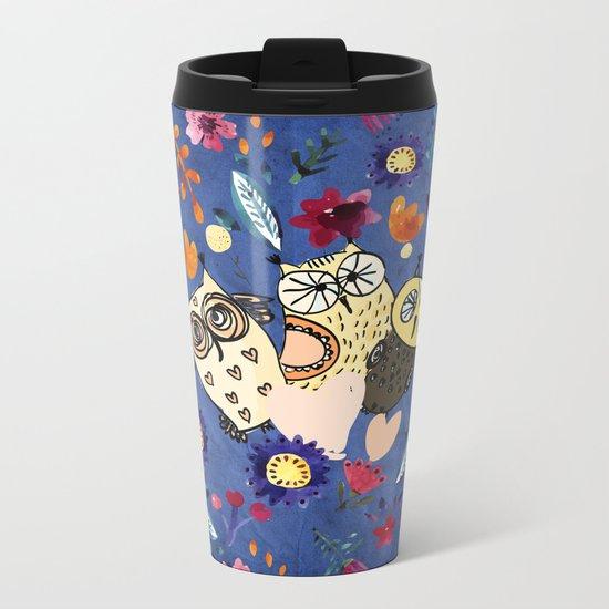 3 Wise Owls in Flower Garden at Night Metal Travel Mug