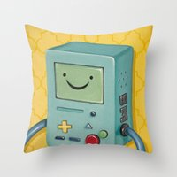 bmo Throw Pillows featuring BMO by HeatherAckley