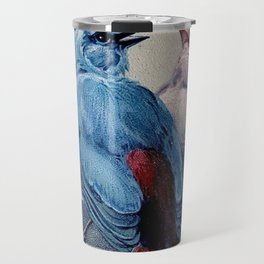 Vintage Blue & Red Winter Songbirds Travel Mug